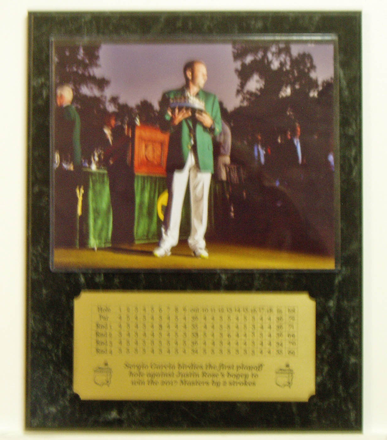Sergio Garcia Masters 8x10 Masters Trophy Photo Plaque with Engraved Scorecard