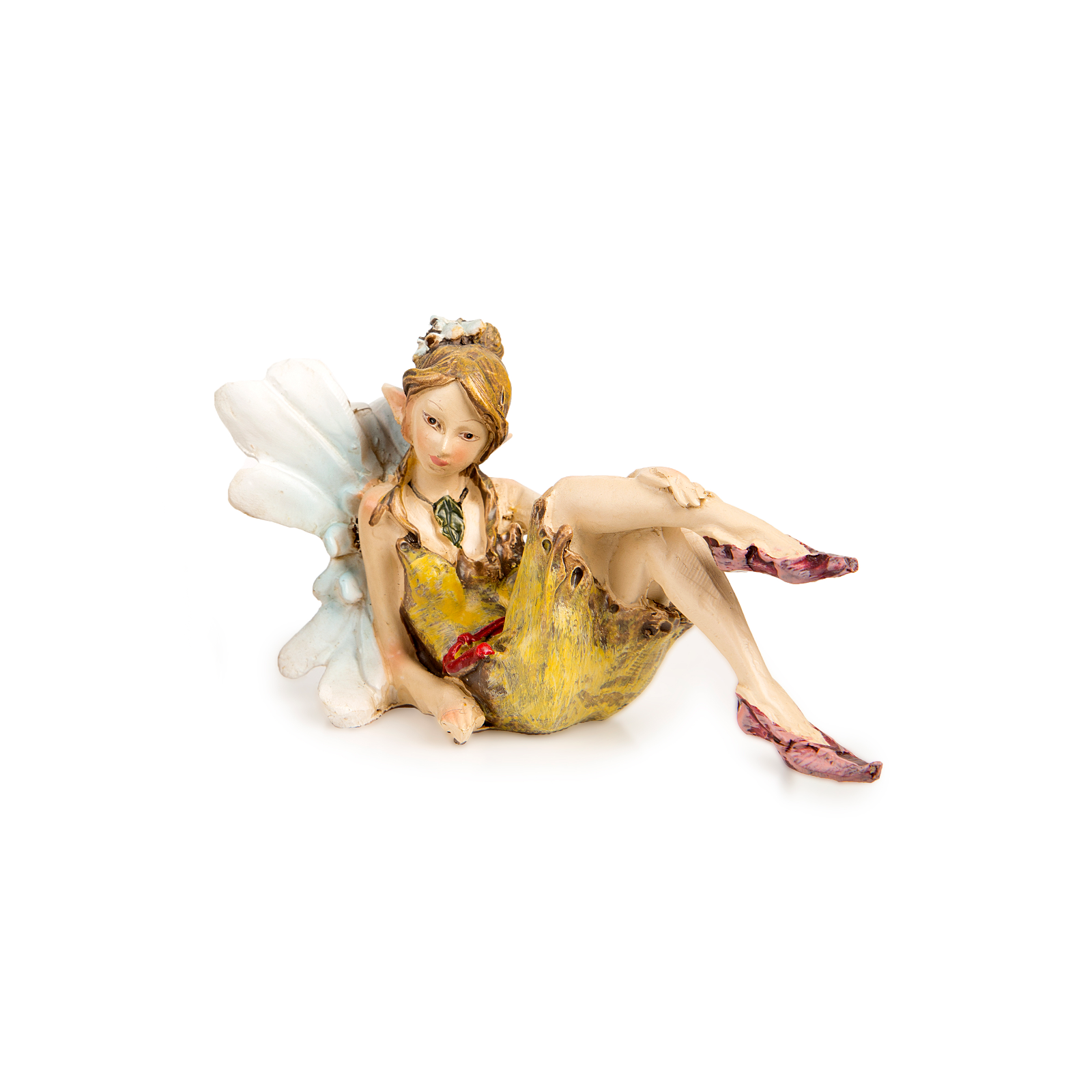 Primary image for Flower Wing Sitting Fairy with White Wings - Miniature Fairy Garden Dollhouse