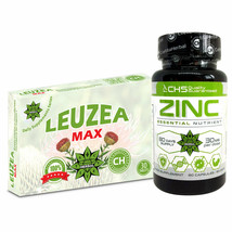 Zinc Citrate + Leuzea (Maral Root) 30 Tablets Natural Ecdysterone Immune Muscle - $54.44