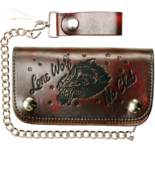 Lucky 13 Lone Wolf Embossed Genuine Leather Biker Tattoos Chain Wallet L... - $877,03 MXN