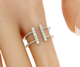▌Modern 18K White Gold 0.54 Ct Diamond T Wire Ring Size 6.5 » U221 - £564.59 GBP