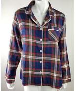Gilligan & O'Malley Women Sz Medium Navy Red Plaid Flannel Sleepwear Shi... - $9.49