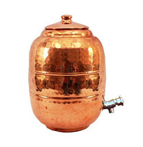 RH - Pure Copper 6.5 ltr. Water Pot Storage Tank With Tap Kitchen Home G... - $110.78