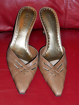 GIANNI BINI Pumps Mules Shoes Beige Leather Siz... - $14.99