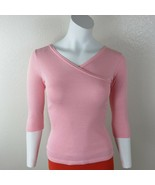 Michael Stars Pink Metallic Stretch Pullover Top 3/4 Sleeve Womens One S... - $29.65