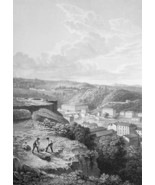 FRANCE View of Lyons - 1821 Engraving Print Cpt. Batty - $12.60