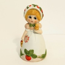 Vintage Jasco Strawberry Patches Girl 1980 Ceramic Bisque Bell Excellent - $12.28