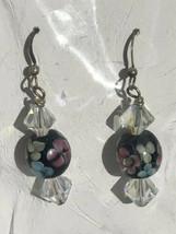 Artisan Handmade Blue with Pink Flowers Art Glass Dangle Earrings - $12.86