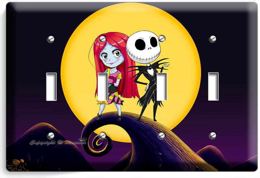 CUTE NIGHTMARE BEFORE CHRISTMAS JACK AND SALLY 4 TOGGLE LIGHT SWITCH PLATE DECOR