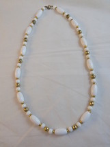 """Vintage BEAD NECKLACE WHITE AND GOLD 25"""" STRAND Round and Oval Shaped Beads - $8.90"""