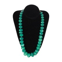 GRADUATED Green EMELRALD LOOK Faceted Glass Beads NECKLACE - $89.10