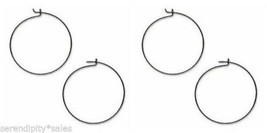 """100 BLACK GUN METAL Finish Ear HOOPS or WINE Glass RINGS for CHARMS 1"""" /... - $13.01"""