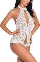 Asiluna Women Lingerie Lace Teddy One Piece Halter Bodysuit Babydoll image 4