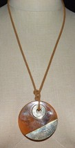 VTG Modern Abstract Orange Brown Swirl Lucite Gold Tone Pendant Necklace - $19.80
