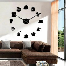 Coffee Gadgets DIY Large Wall Clock Modern Kitchen Cafe Coffee Bean Mach... - $35.44+