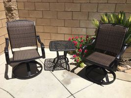Outdoor bistro set 3 piece patio cast aluminum swivel rocker chairs end table. image 3