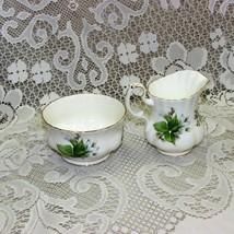 Vintage Royal Albert Trillium Cream & Open Sugar Bowl Bone China White Flowers - $24.99