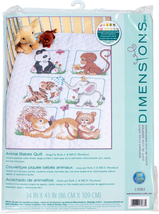 Dimensions Stamped Cross Stitch Baby Animals Diy Baby Quilt Kit, 34'' X 43'' - $36.41