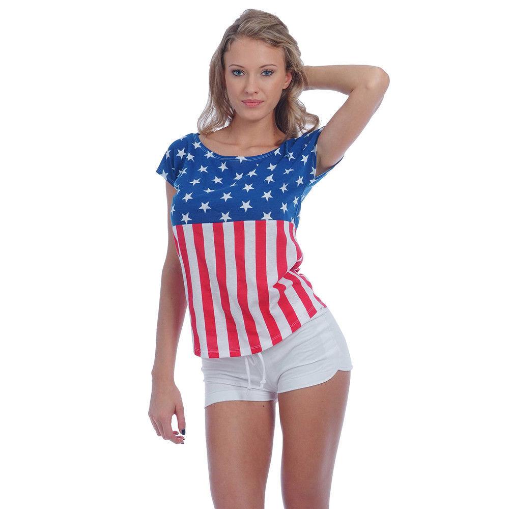 USA American Flag T-Shirt Women's Drop-Shoulder Patriotic Stars & Stripes