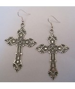 1 pairs Tibetan Silver *LARGE SILVER CROSS* Gothic Earrings Dita Madonna... - $12.90