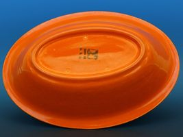 Vintage Franciscan El Patio Flame Orange / Uranium Red Oval Bowl 30s F Logo image 4