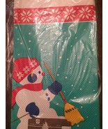 Vintage Hallmark Snowman Paper Tablecloth 54 X 96 Inches Sealed Holiday - $19.80