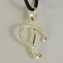 18K YELLOW GOLD PENDANT CHARM INITIAL LETTER P, MADE IN ITALY 0.9 INCHES, 23 MM image 2