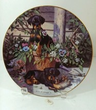Rottweiler Puppies The Hamilton Collection All in a Days Work Plate Gard... - $14.99