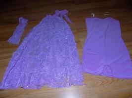 Child Size Large Weissman Lilac Purple Dance Costume Unitard Dress & Hai... - $32.00