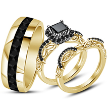 Princess Cut Black Diamond Engagement Ring & His Her Band Trio Set in 92... - $154.99
