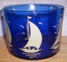 DEPRESSION GLASS-- HAZEL ATLAS RITZ BLUE SHIPS ROUND TUB (44 OUNCE) - $42.45