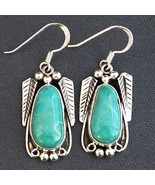 Native American Dangle Earrings Fox Turquoise Sterling Silver by Navajo ... - $342.00