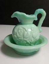 Vintage Avon Jadeite Blue-Green Swirled Slag Glass Pitcher and Basin - $5.93