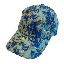 Womens Fancy Hat Sparkle Sequined Floral Disco Party Fashion Strapback Hat - $9.89