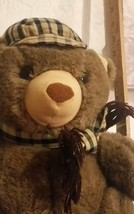 "13"" Dakin 1984 Arthur Plush Teddy Bear Tartan Plaid Scarf Hat Stuffed Animal - $21.00"