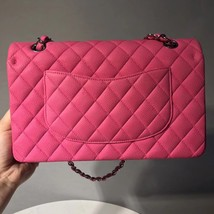 AUTHENTIC CHANEL PINK QUILTED CAVIAR MEDIUM CLASSIC DOUBLE FLAP BAG SHW image 3