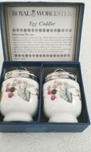 Vintage Royal Worcester Two Porcelain Egg Coddlers Berry Design NIB - $14.85