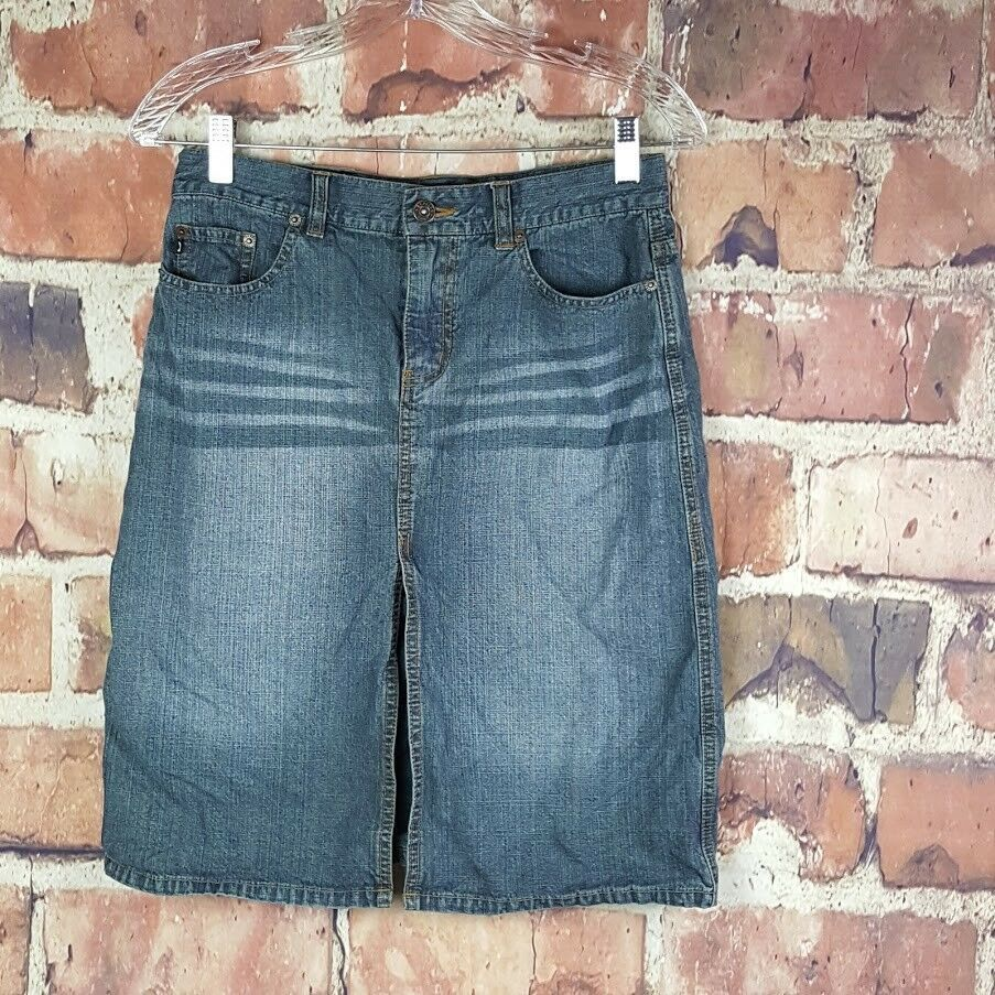 Express Jeans Womens Denim Skirt Size 5/6 Juniors Pencil Pockets Slit