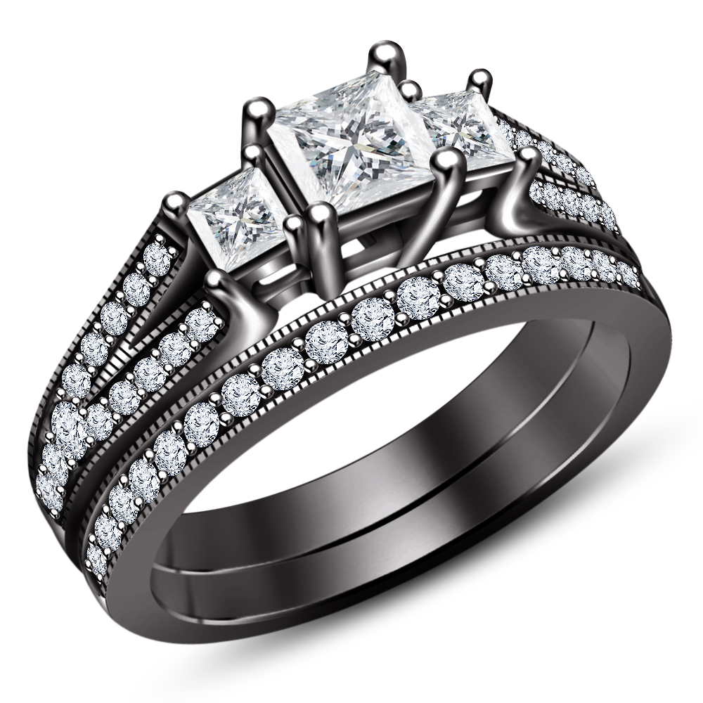 Primary image for Princess Cut White CZ 14k Black Gold Plated 925 Silver Wedding Ring Bridal Set