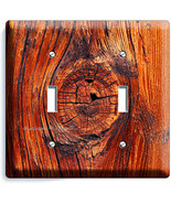 RUSTED OLD WOOD EYE RUSTIC DOUBLE LIGHT SWITCH WALL PLATE KITCHEN LOG CA... - $11.87