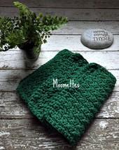 Handmade Kitchen Dish Cloths Crochet Dark Green Cotton Dishcloths Set of 3 - $18.75