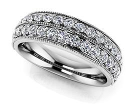 0.52Ct Round Sim Diamond Double Row Milgrain Wedding Band Ring 14K White... - $118.99