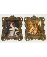 2 Small Vtg Prints Metal Frames Italy w/ Concave Glass - $20.00