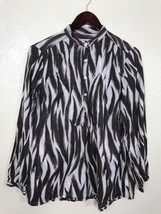 Michael Kors Women Blouse Zebra Print Brown Long Sleeve Size M 100% cotton - $21.28