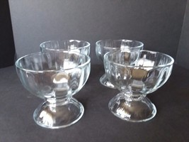 Set of 4 Heavy Vintage  Libbey Ice Cream Sherbet Dish Pedestal Clear Glass Bowl - $33.40