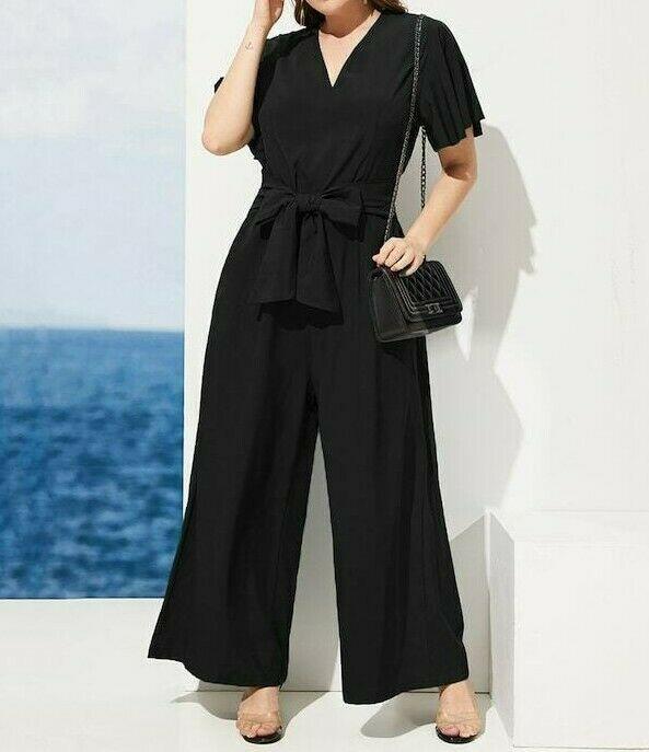 Flutter Sleeve V-Neck Slant Pocket Belted Wide Leg Jumpsuit Romper Plus Size