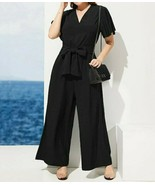 Flutter Sleeve V-Neck Slant Pocket Belted Wide Leg Jumpsuit Romper Plus ... - $52.19