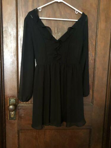 Express Deep Plunge Little Black Dress Sheer Sheath Sz 4 Super Cute!