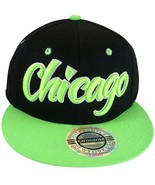 City Hunter Chicago Men's Adjustable Snapback Baseball Cap Black/Green - $9.95