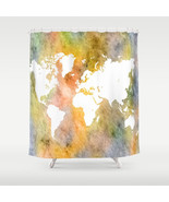 Shower curtains art shower curtain Design 63 World map orange L.Dumas - $68.99